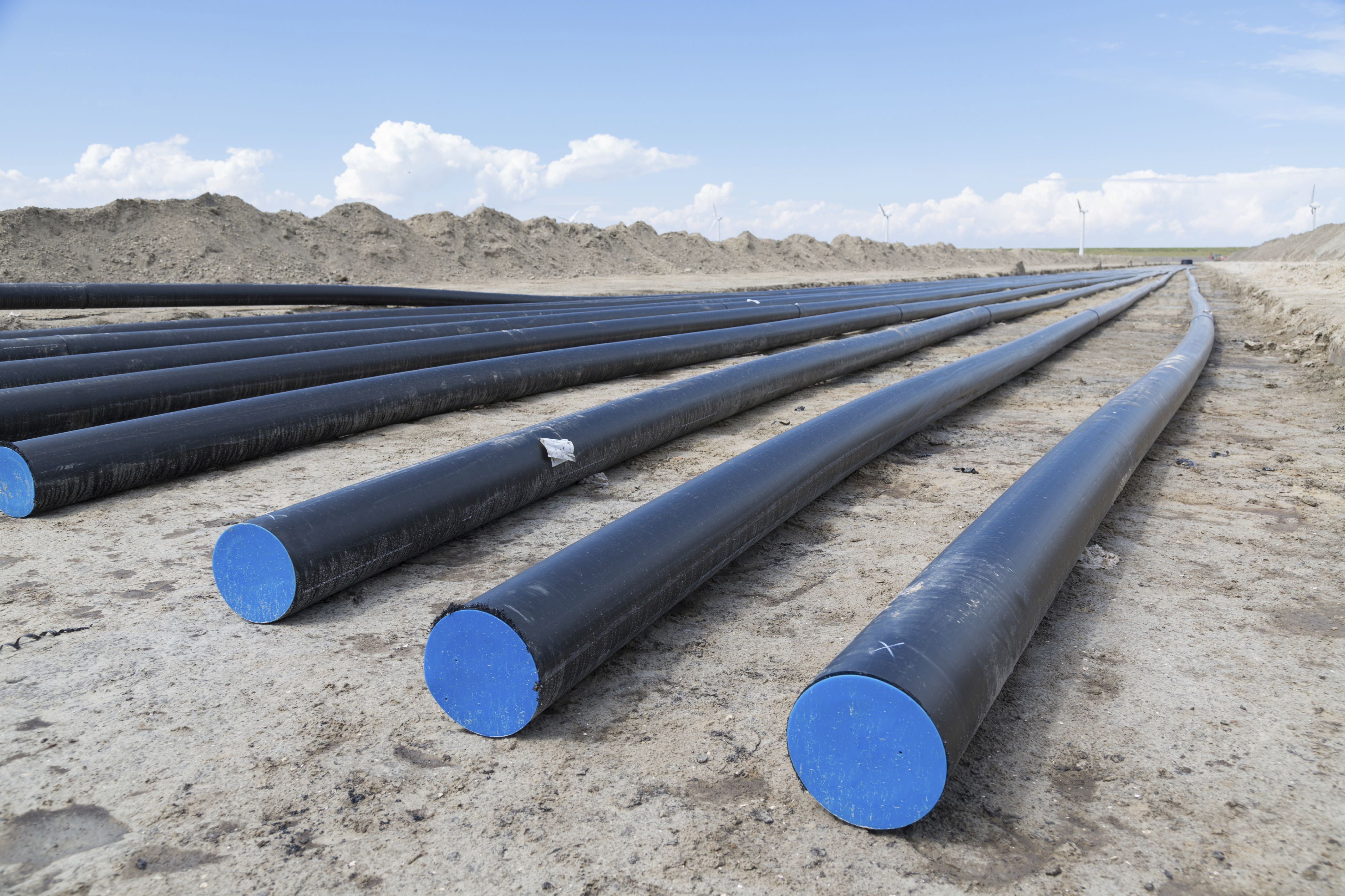 Underground cabling destined to transport electricity from a large scale wind farm